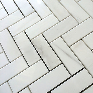 """Bianco Dolomiti: 1"""" x 2.5"""" Herringbone Mosaic"""